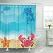 PKNMT Fish Beach Tropical Animal Aqua Aquatic Coast Conceptual Crab Bathroom Shower Curtain 66x72 inch