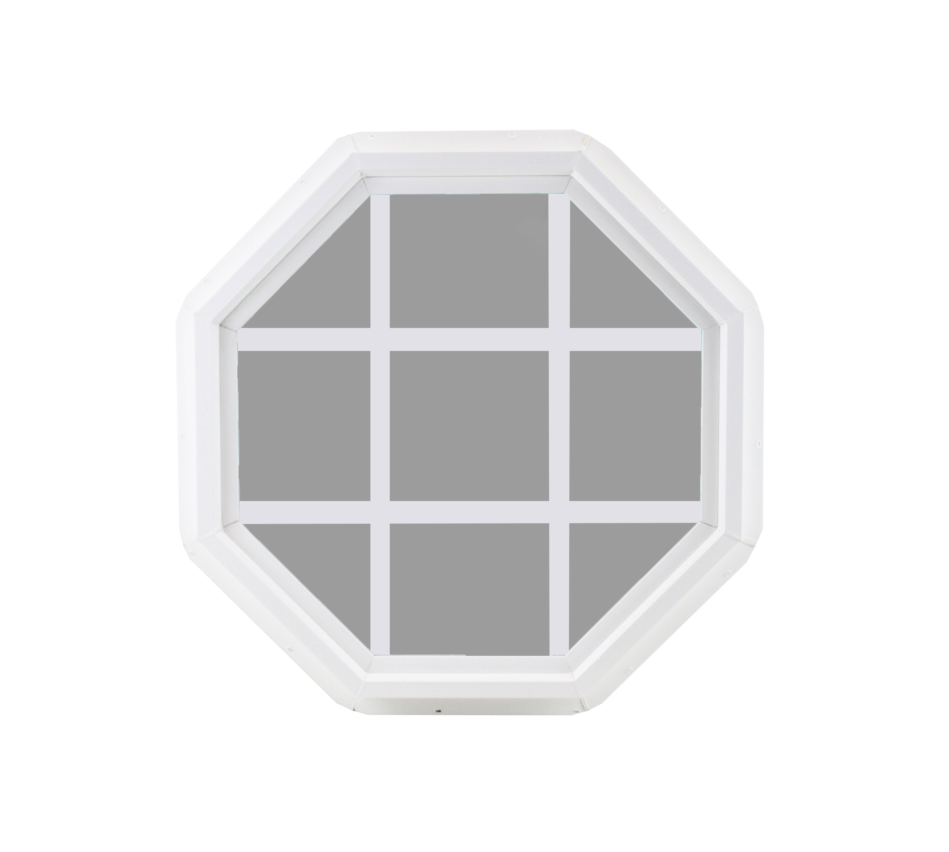 """Octagon 18/"""" Double Pane Window Tempered Glass Low-E PVC Frame Without Grids"""