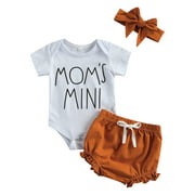 ZIYIXIN New Born Baby Girl Short Sleeve Set, Baby Letter Print Top Solid Color Short Pants and Hairband 3-piece Suit