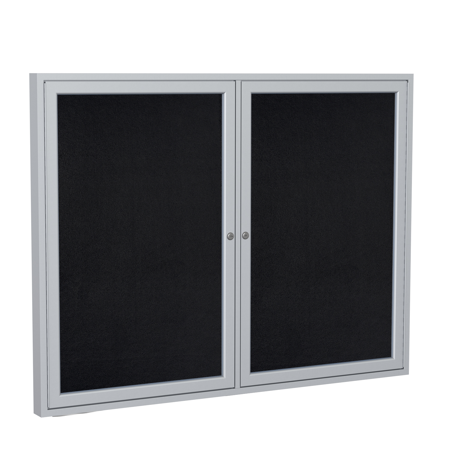 PA23648TR-BK Ghent 2 Door Enclosed Recycled Rubber Bulletin Board with Satin Frame Wall Mounted TackBoard, 3'H x 4'W, Black - Ghent Recycled Rubber