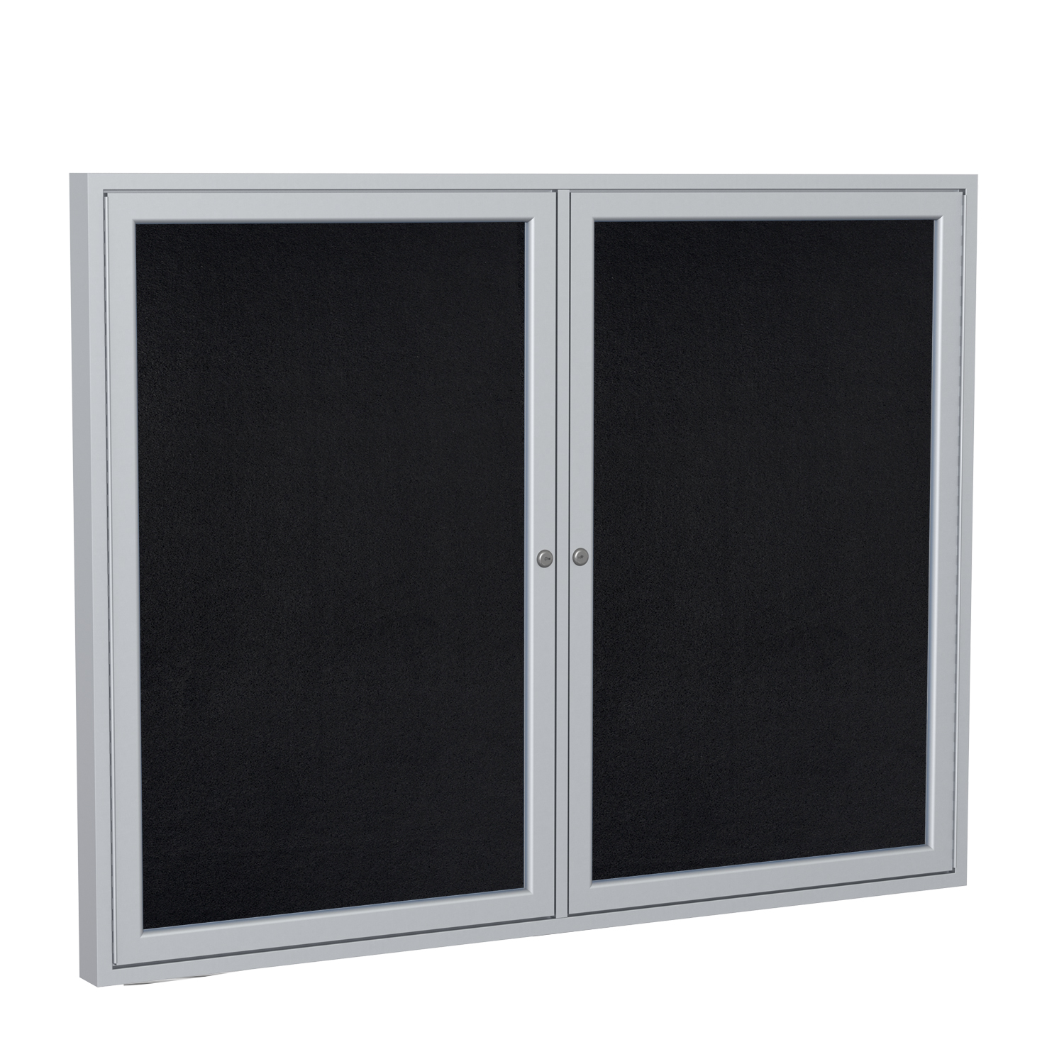 PA23648TR-BK Ghent 2 Door Enclosed Recycled Rubber Bulletin Board with Satin Frame Wall Mounted TackBoard, 3'H x 4'W, Black