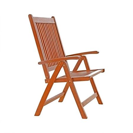 Vifah V145 Outdoor Wood Folding Arm Chair with Multiple-Position Reclining Back, Natural Wood Finish, 18 by 22 by 41-Inch - image 1 of 2