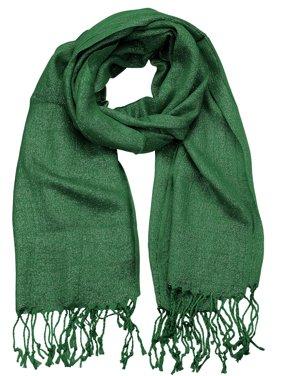 NYFASHION101 Women's Sheer Metallic Braided Tassel Ends Scarf Shawl Wrap, Green