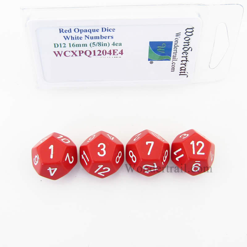 Red Opaque Dice with White Numbers D12 Aprox 16mm (5/8in) Pack of 4 Wondertrail