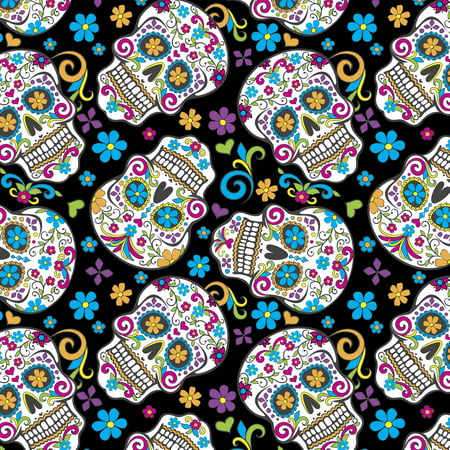 David Textiles Folkoric Skulls Anti-Pill Fleece 1.5-Yard Fabric Cut - Halloween Fabric 2017