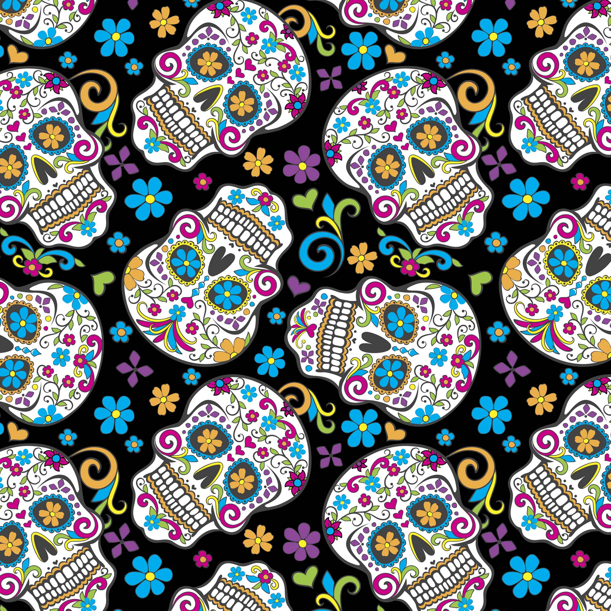 David Textiles Anti-pill Fleece Precut Fabric Folkloric Skulls 1.5 Yds X 60 Inches