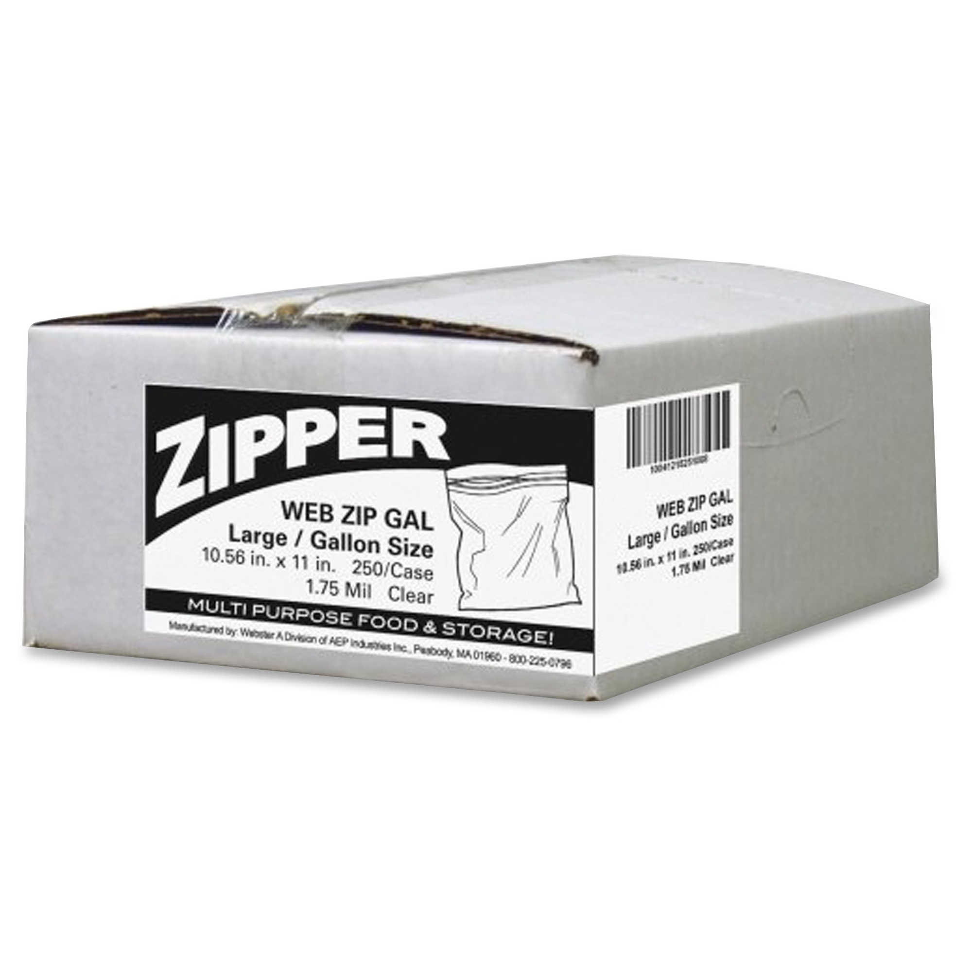 Webster Zipper Storage Bags - 1.75 Mil [44 Micron] Thickness - Clear - Plastic - 250/carton - Food (zip1gs250)