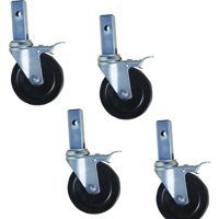 "Pro-Series Heavy-Duty 5"" Hard Rubber Locking Caster, Set of 4"
