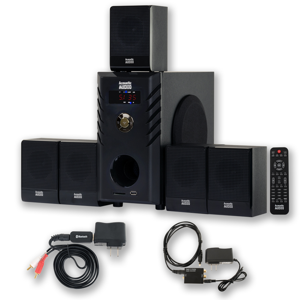 Acoustic Audio AA5104 Home Theater 5.1 Speaker System 600W with Bluetooth and Optical Input AA5104BD