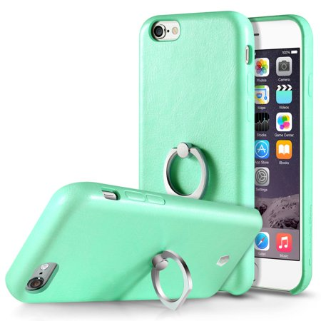 Cobble Pro 360 Rotation Ring Stand Grip Holder Leather Back Protective Case for Apple iPhone 6 / 6s - -