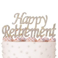 Happy Retirement Cake Topper, Crystal Rhinestones on Gold Metal, Party Decorations, Favors