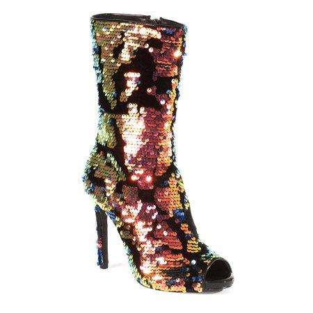 Lauren Lorraine Gal Blue Multi Glitter Side Zip Closure Peep Toe Stiletto Boots
