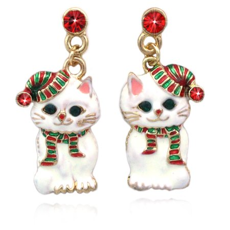 cocojewelry  Christmas Santa Hat Kitty Cat Charm Dangle Post