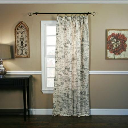 Ellis Curtain Script Crushed Taffeta Tailored Single Curtain Panel Sheer Tailored Panel