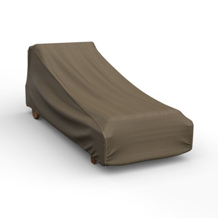 Budge Large Black-Tan Patio Chaise Cover, NeverWet® Hillside