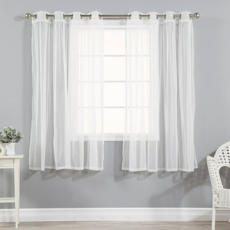 Best Home Fashion Gathered Tulle Sheer Silver Grommet Curtain Panel