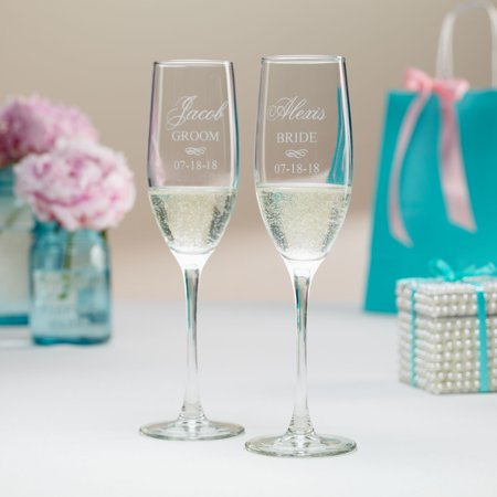Best Personalized Bride and Groom Champagne Flutes - Walmart.com ST03