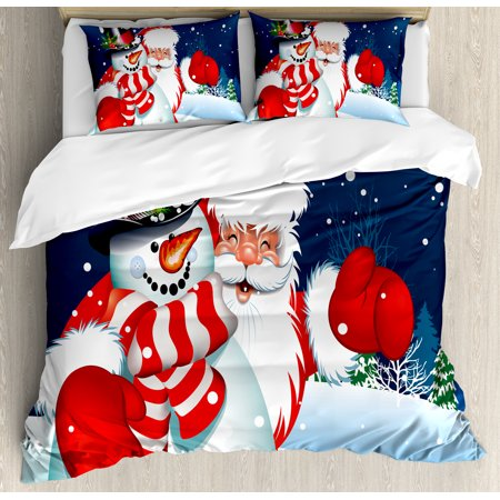 Christmas King Size Duvet Cover Set, Smiling Santa Claus Hugging Snowman in Cartoon Style Winter Hills Fir Trees, Decorative 3 Piece Bedding Set with 2 Pillow Shams, Blue Red White, by Ambesonne