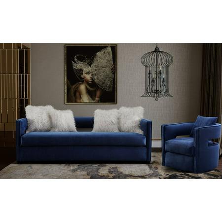 TOV Furniture Kennedy Navy Velvet Upholstered Sofa Set