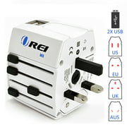 Orei M8 All-In-One International Worldwide Travel Plug Adapter with Dual USB Charger - Retail Packaging - White