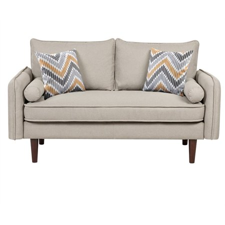 Mia Mid-Century Modern Beige Fabric Loveseat with USB Charging Ports & Pillows