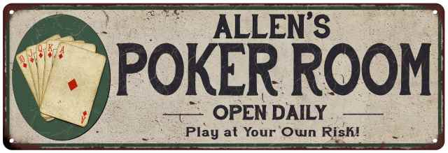 Family Name Sign Aluminum Invitation Only Metal Wall Decor Poker Room Sign