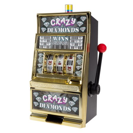 Slot Machine Coin Bank– Electronic Realistic Mini Table Top Novelty Toy by Trademark Gameroom (Crazy Diamonds) ()