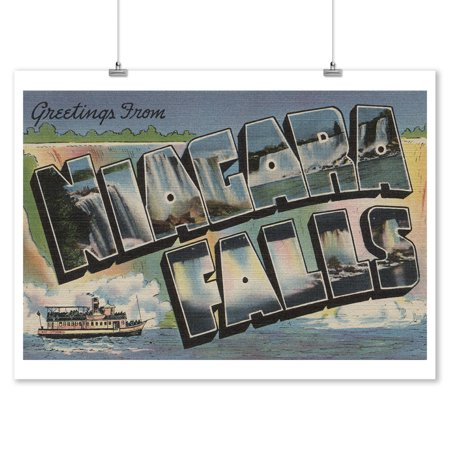 Greetings From Niagara Falls, New York #1 (9x12 Art Print, Wall Decor Travel
