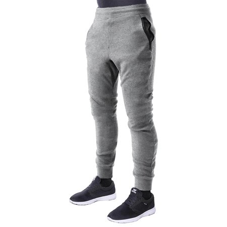 Ip Mens Zip Jogger Athletic Fleece Zipper Pocket Tappered Gym Workout Running Long Pants 1Pib0060
