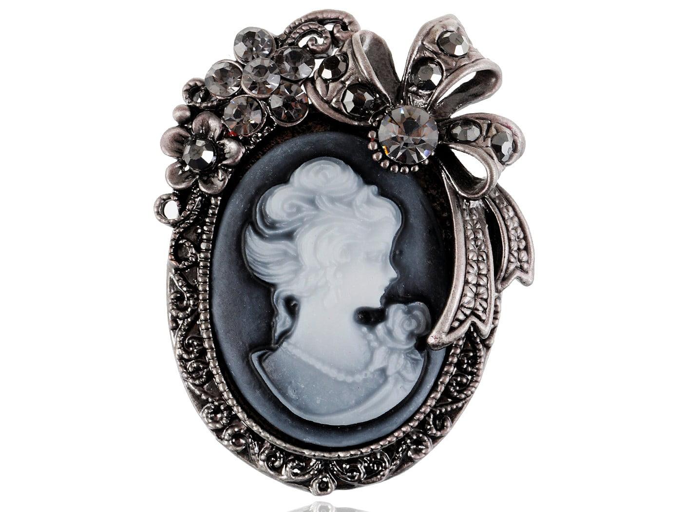 UK Gray Topaz Crystal Rhinestone Cameo Maiden Flower Ribbon Bow Pin Brooch by