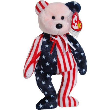 Silver Baby Bear - Ty Beanie Babies Spangle - American Bear (Red Face)