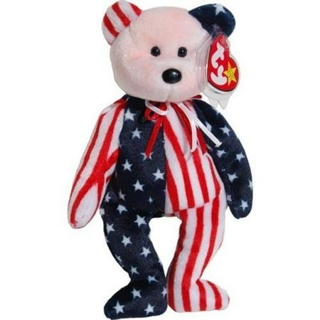 Mama Bear Baby Bear - Ty Beanie Babies Spangle - American Bear (Red Face)