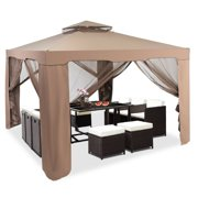 Gymax 10'x 10' Canopy Gazebo Tent Shelter W/Mosquito Netting Outdoor Patio