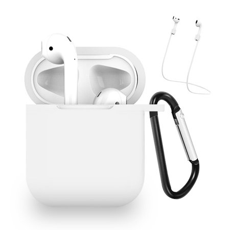 Airpods Protective Case And Strap-white Airpods Protective Case And Strap Made Of Lightweight Impact-resistant Silicone. Integrated Charging Port Cover Protects Port From Dust And Dirt. Carabiner Clip Included To Securely Attach Your Airpods To Backpack And Other Outdoor Gear. Airpods Strap Mounts Each End And Keeps Your Airpods Together. Compatible With Airpods With Charging Case And Airpods With Wireless Charging Case. Does Not Interfere With Wireless Charging. Airpods Not Included.