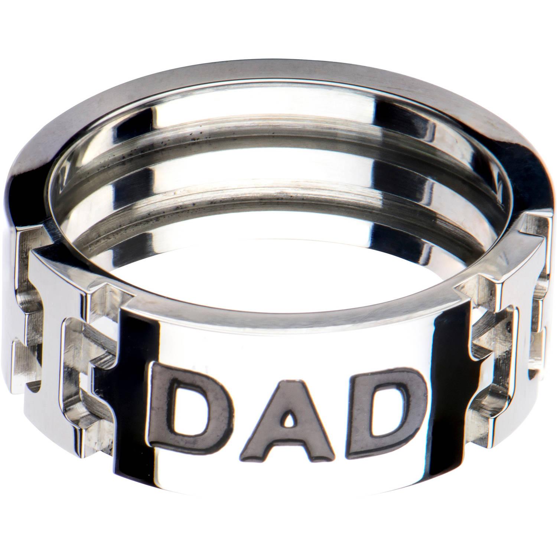 Steel Art Men's Stainless Steel DAD Inscription Band Ring