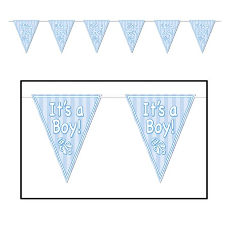 Pack of 12 All-Weather â Itâ s A Boy!â Blue Baby Shower Party Pennant Banners 144