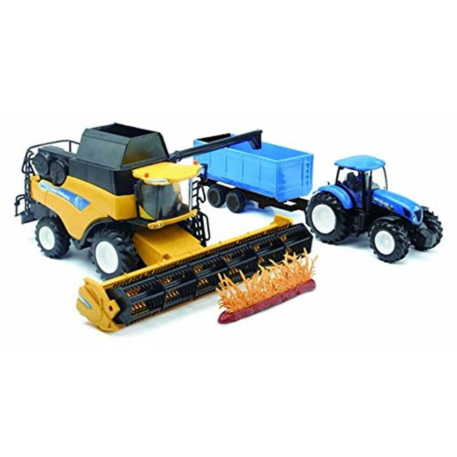 New-Ray 5763 New Holland Harvester With Farm Tractor Trai...