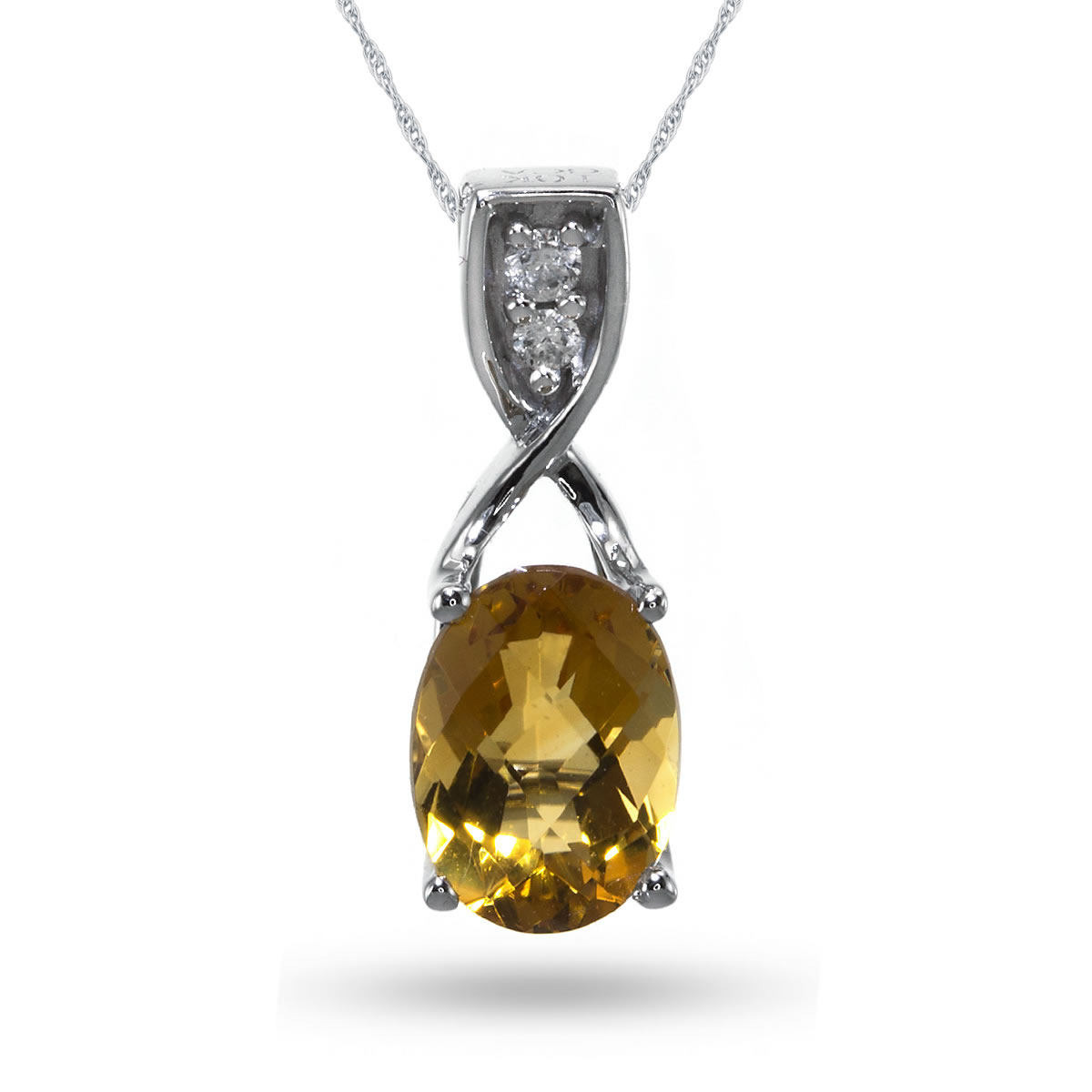 10K White Gold Oval Citrine and Diamond Pendant