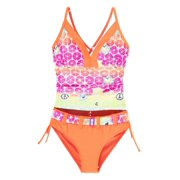Big Chill Little Girls' Love Piece Print Rashguard 2Pc Tankini Swimsuit Set
