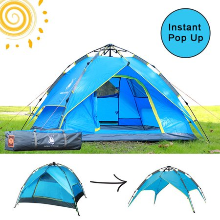 - 4 Persons Backpack Camping Tent,iClover Auto Pop Up Ultralight Tents [Double Layer] [Quick Setup] Hydraulic Rapid Self Instant Tents Dome Anti-UV Windproof [2 Doors]for Hiking Picnic Backpacking