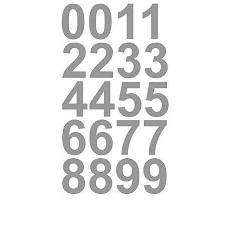 Sheet of 1 Inch (Silver) Numbers Vinyl Custom Street Address Mailbox Decal Stickers Kit for $<!---->
