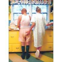 Avanti Press Woman Goosing Husband Funny / Humorous Birthday Card