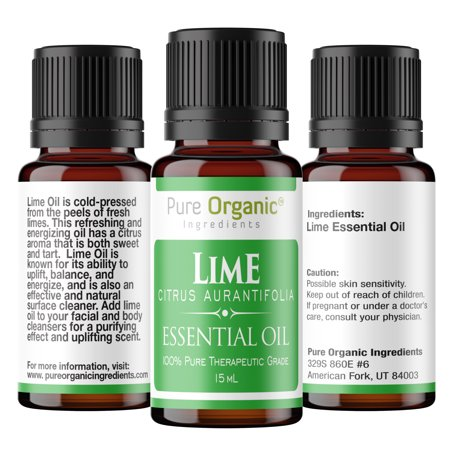 - Lime Pure Essential Oil 15 mL by Pure Organic Ingredients, Powerful, Energizing Aromatic, All Natural, No Fillers, Non-Toxic, Convenient Dropper Cap Bottle