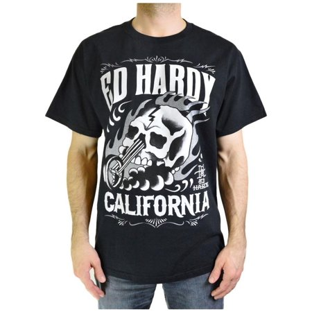 Ed Hardy Men's Skull Chopper Short Sleeve Crew Neck T-shirt Black Size 2X-Large (Felicia Hardy Black Cat)