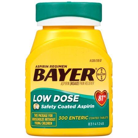120 Enteric Coated Tablets - Aspirin Regimen Bayer Low Dose Pain Reliever Enteric Coated Tablets, 81mg, 300 Ct