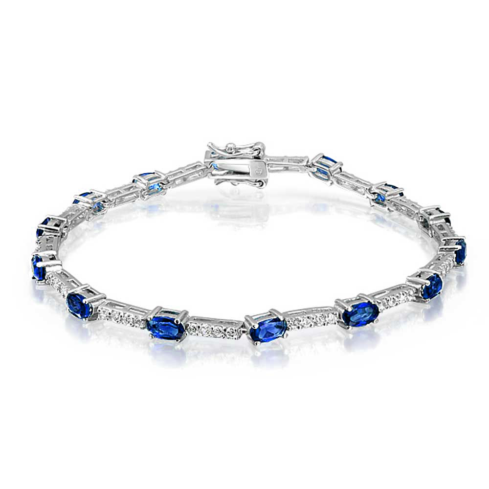 Bling Jewelry 925 Sterling Thin Simulated Sapphire Cubic Zirconia Oval Tennis Bracelet 7in by Bling Jewelry