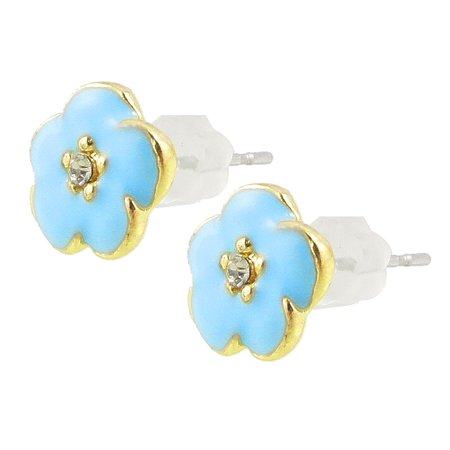 Unique Bargains Lady Rhinestone Decor Sky Blue Gold Tone Flower Shape Stud Earrings Pair