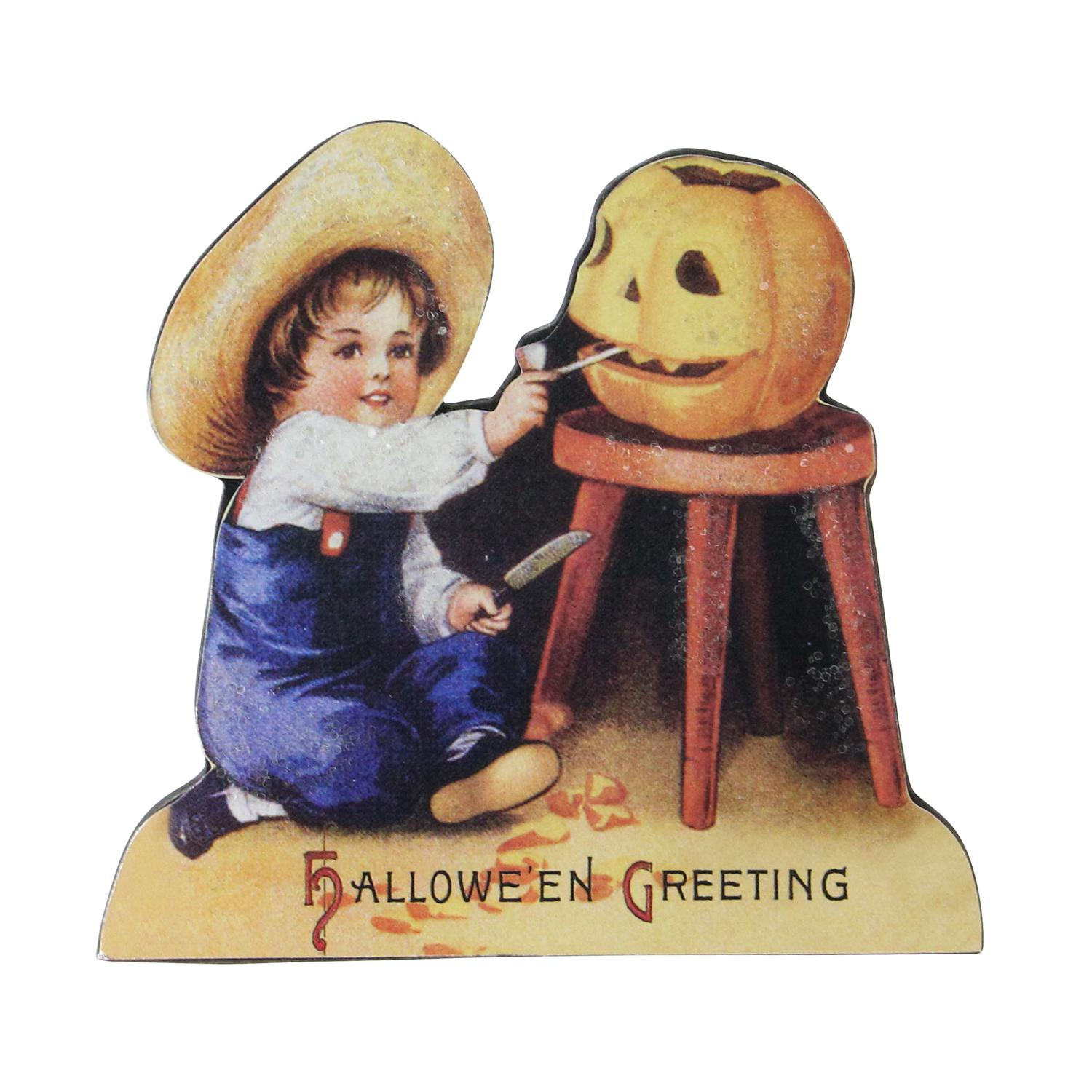 "4.5"" Glittered Child Carving a Pumpkin Vintage Halloween Sign Decoration"