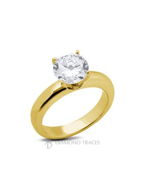 0.36ct J-SI1 Ideal Round AGI Genuine Diamond 14k Gold Classic Solitaire Ring 3mm