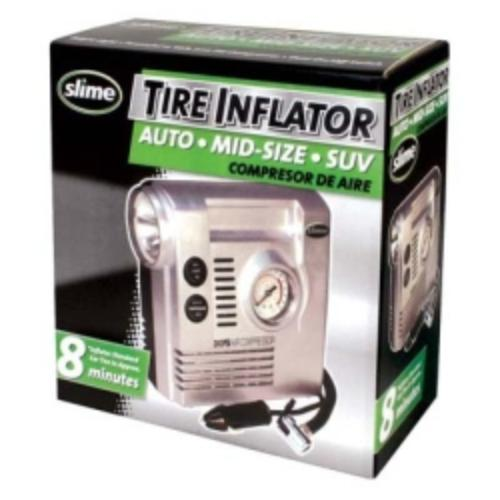Slime - Portable 12 Volt Tire Inflator with Built-in Gauge and Light